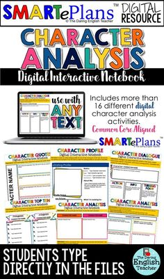 Digital Character Analysis Interactive Notebook for Secondary ELA. Ideal for the digital high school English or middle school English classroom, this resource is compatible with Google Classroom and is filled with character analysis activities. It is aligned with the common core standards and can be used with any text.