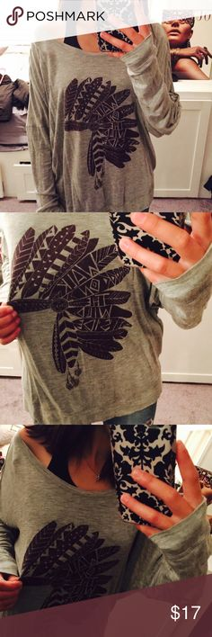 Empyre Indian Headdress Tee Long-Sleeve , grey & maroon Indian Headdress Tee from Zumiez. Only worn ONE time! No damage. Just a little big on me. ☺️ Tops Tees - Long Sleeve