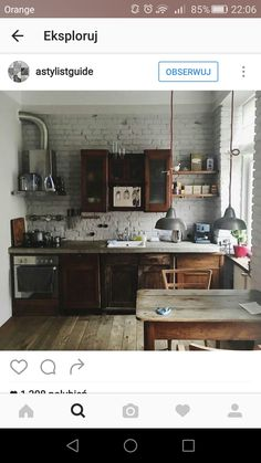 Rustic kitchen closet is an attractive combination of country home and farmhouse decor. Discover rustic kitchen cabinet layouts, plus surf motivating images Rustic Kitchen, Kitchen Dining, Cozy Kitchen, Rustic Farmhouse, Industrial Farmhouse, Industrial Stairs, Industrial Shop, Industrial Windows, White Industrial