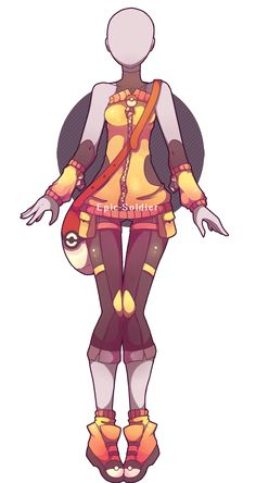 Custom outfit commission 13 by Epic-Soldier on DeviantArt Fashion Design Drawings, Fashion Sketches, Pokemon Trainer Outfits, Anime Outfits, Cool Outfits, Deidara Wallpaper, Clothing Sketches, Hero Costumes, Anime Dress