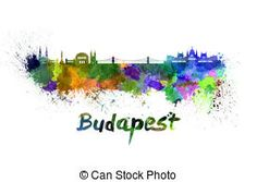 Budapest skyline in watercolor over white background with name of city - SKU 0289 by Paulrommer on Etsy Watercolor Splatter, Watercolor City, Watercolor Images, Free Illustrations, Illustration Art, Paper Plane Tattoo, City Drawing, Stock Art, Art Images
