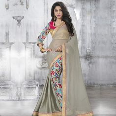 Sarees: Beige,grey,pink art silk,brocade,faux georgette blouse with grey border.