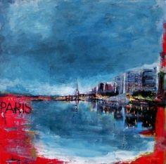 tableau : PARIS BY NIGHT by SYLVIE LEPRINCE - DC41016PA030 #paris #nuit #bleu #rouge #art #peinture @artupdeco