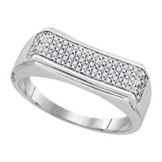 925 Sterling Silver White 0.16CTW DIAMOND MICRO-PAVE MENS RING