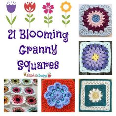21 Blooming Granny Squares, roundup of free crochet patterns on Stitch and Unwind