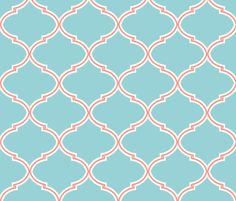 Lily Trellis in Turquoise and Coral  fabric by sparrowsong on Spoonflower - custom fabric