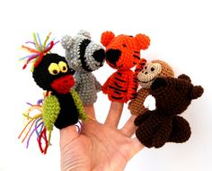 5 finger puppet crocheted tiger bird racoon monkey by crochAndi, $32.00
