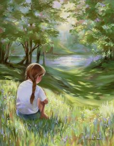 Items similar to Sunlit Solitude Print from Original Oil Painting Child in Sunshine by River on Etsy Adorable Petite Fille, Flora Und Fauna, Painting Of Girl, Anime Scenery, Anime Art Girl, Beautiful Paintings, Landscape Art, Cartoon Art, Female Art