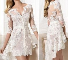 Sexy Short lace beach wedding dress after party evening dress size 6 8 10 12 14+ | eBay