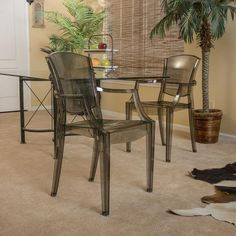 Carson Transparent Grey PC Accent Arm Chairs (Set of 2)