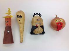 Turn your leftover vegetables into spooky characters. All you need is wiggly eyes, pipe cleaners, tissue paper, card and some PVA glue.