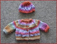 Free, simple hat a cardi pattern. More links to free knitting patterns here: http://www.knittingpatterncentral.com/directory/dolls_clothes.php