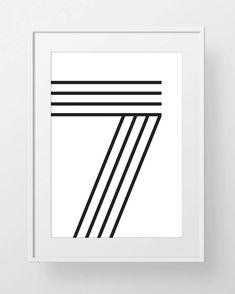 Sale off 7 Number Typography Poster, Black & White Minimalist Scandinavian Print Printable Typog Number Typography, Typography Poster, 7 Tattoo, Minimalist Scandinavian, Number 7, Lucky Number, Sale 50, Blackwork, Small Tattoos