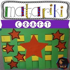 An easy Matariki craft - great for junior classes. Children complete a simple weaving activity and then glue on stars in the shape of the Matariki Constellation. Educational Activities, Classroom Activities, Craft Activities, Early Childhood Activities, Early Childhood Education, Teaching Kids, Teaching Resources, Waitangi Day, Weaving For Kids