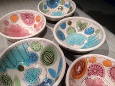Cereal bowls by Kari Radasch.love the patterns and colors! Cereal bowls by Kari Radasch.love the patterns and colors! Pottery Painting, Ceramic Painting, Ceramic Artists, Pottery Plates, Ceramic Pottery, Ceramic Clay, Ceramic Bowls, Paint Your Own Pottery, Pottery Designs