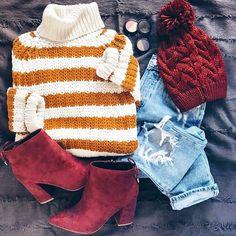 Sweater, beanie and high heels