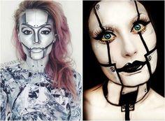 Roboter Gesicht und Hals Schminke für Frauen