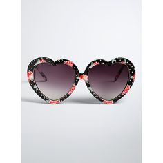 Torrid Rose Heart Sunglasses ($15) ❤ liked on Polyvore featuring accessories, eyewear, sunglasses, red heart sunglasses, retro glasses, rose sunglasses, imitation sunglasses and red heart glasses