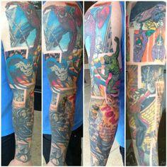 Super Hero tattoo sleeve. Mine would have Loki, Thor, hulk, iron man, and spiderman