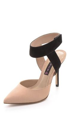 Two-tone ankle strap pumps