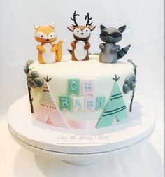 us: Throwback to this woodland animals themed baby shower cake. I have a large order coming up with the same theme and I'm so excited! Still one of my faves. Baby Shower Pasta, Fiesta Baby Shower, Baby Shower Fun, Baby Shower Parties, Baby Shower Themes, Baby Boy Shower, Shower Ideas, Bolo Fack, Forest Baby Showers
