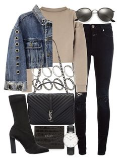 Untitled #20876 by florencia95 ❤ liked on Polyvore featuring Closed, My Mum Made It, Yves Saint Laurent, ASOS, Calvin Klein Collection, Ray-Ban and Daniel Wellington