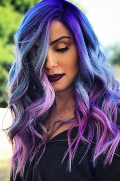 Shock Blue And Purple Colored Long Wavy Hair. Purple hair color variations surprise us with their numerousness and versatility. And taking into account the increasing popularity of purple hairstyles, we think that it is time to discuss this topic in detai Hair Color Purple, Hair Dye Colors, Cool Hair Color, Purple Ombre, Long Purple Hair, Purple Makeup, Exotic Hair Color, Purple Streaks, Beautiful Hair Color