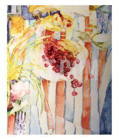 Cherries on White Plate Print by Shirley Trevena at Art.com