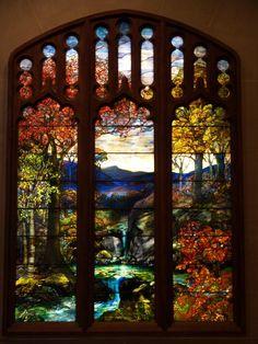 Description: New York City, NY: Metropolitan Museum of Art: Autumn Landscape (c1923, Tiffany Studios, New York City)