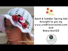 Free Toddler Spring or Easter Hat Shell Stitch Easter Hat with Spring Blossoms | Cre8tion Crochet