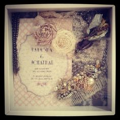 Wedding shadow box! A great way to display keepsakes, as well as your veil, headpiece, garter, etc.