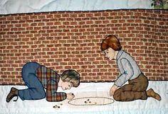 "#2  ""Bonnet Proportional Children & Borders""   Boys shooting marbles."