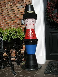 New goal! Make terra cotta pot Marines to guard the house at Christmas. Have to figure out how to tweek original soldiers