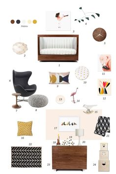 Today's style board is a nod to mid-century modern. There is something inherently mod about the flamingo motif, which played a big part in the inspiration for this design. The strong focus on simple geometrical pattern, dark woolly textures and walnut finishes is offset by subtle tones of white, ochre and dusty pink.