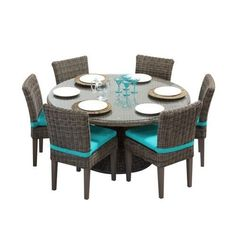 Miseno MPF-CPCD60KIT6C Nantucket 7-Piece Aluminum Framed Outdoor Dining Set with Round Glass Tabletop and Side Chairs (