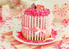 Pink Pocky Sticks Cake :-)  - Definitely one of the cutest cakes I have ever seen!