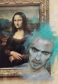 fortheloveoftravel,travel-Seen in the Louvre. Mona Lisa and man with blue hair. Enki Bilal Bd, Lisa Gherardini, Mona Lisa, High School Art Projects, Louvre, Bd Comics, Art Et Illustration, Art Graphique, Illustrations And Posters