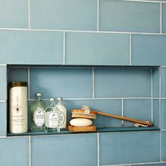 Storage Niche - must have recessed niches for all the shower goodies - i hate the storage baskets and the old-school soap holders. this is pretty and space saving. and won't rust out. Bathroom Tiles Images, Bathroom Tile Designs, Bathroom Floor Tiles, Tiled Bathrooms, Bathtub Tile, Shower Storage, Shower Shelves, Bathroom Storage, Loft Bathroom