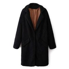 Lapels Pocketed Long Sleeves Black Coat | pariscoming