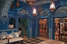 Bar Palladio - www.bar-palladio.com. The most beautiful, blue bar in the world. Jaipur, Rajasthan, India. Katiesargentdesign.com Rajasthan India, Jaipur, Interior Design Studio, Interior Design Services, Blue Bar, Oriental, Most Beautiful, October, Travel