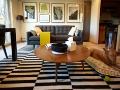 Fun patterns on the rug, pillows, and dog bed.  I like the feel of this living room.