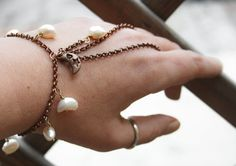 Moonlight Slave Bracelet copper chain ring by CrazyFoxDesign