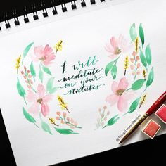 Day 19 of my Bible Writing Plan Psalm 119:46-48. . Pastel wreath totally inspires by the beautiful work of @after_july! . . . #TheThingsUnseen #bible #bibleverse #handlettering #brushlettering #lettering #calligrabasics #letteringhislove #letteringleague #calligraphy #watercolor #watercoloring #bibleverseoftheday #moderncalligraphy #letteringthegospel #encouragementoftheday #verseoftheday #Psalm #ScriptureWriting #LetteringTheBible #BibleLettering  #BibleLetteringChallenge #April…
