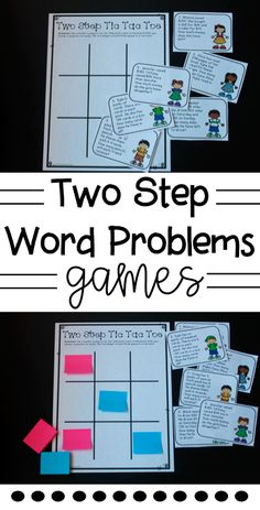 Two Step Word Problem Games! Love this tic tac toe math game for centers to teach two step word problems! Great examples for students to work through!