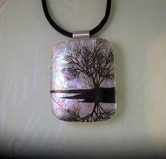 Fused Dichroic Glass Pendant Solitude by SunlightGlassJewelry, $25.00