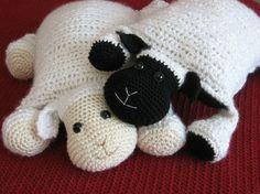 Crochet Lamb, Cute and Cuddley  Pillow, Crochet pattern