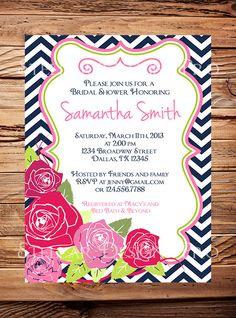 Bridal shower invitation, Pink Roses Wedding Shower, Pink, Navy, Lime Green, Chevron Stripes, Flower Invite,  digital, printable file. $21.00, via Etsy.