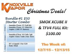 KV CHRISTMAS DEALS!  Did you miss some of our great Black Friday deals? Well here is your chance to get at least one of those deals back, for the holidays.  Bundle #1 - $50: Starter Combo  Choose from our various selections and get a deal in the making!  Need a good Christmas present for a smoker in your life? Maybe you just want to get yourself a small gift this year or just want to get a jump on that New year's resolution? This is it!  This deal will ONLY last all week long, Monday…