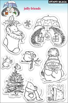 Jolly Friends Penny Black Clear Stamp hedgehog
