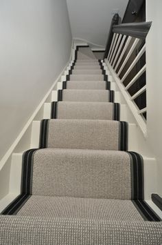 wool stair runners Bowloom wool carpet, fitted stair runners with Stripe P - Colour 2 binding tape Black Staircase, Staircase Design, Textured Carpet, Patterned Carpet, Striped Carpet Stairs, Living Room Carpet, Rugs In Living Room, Foyers, Staircase Carpet Runner